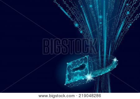 Cyber safety padlock on data mass. Internet security lock information privacy low poly polygonal future innovation technology network business concept blue vector illustration art