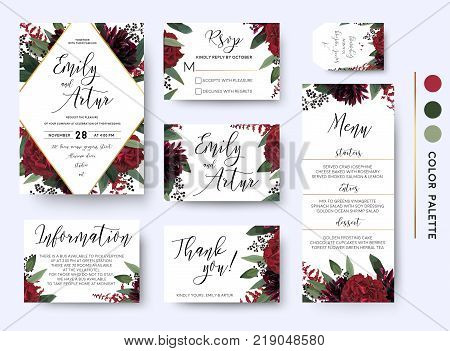 Wedding invite invitation save the date rsvp thank you information cards set. Vector watercolor floral bouquet rhombus frame design: red burgundy Rose flower green leaves Eucalyptus branch & berries