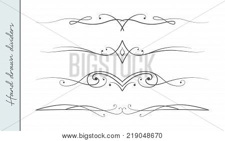 Vector hand drawn curve linear flourish ornate text divider graphic design element set. Designer art border for Wedding invite card page decoration. Beauty calligraphic swirls delicate motif pattern