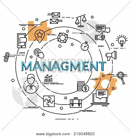 Flat colorful design concept of Management. Infographic idea of making creative products. Template for website banner flyer and poster.