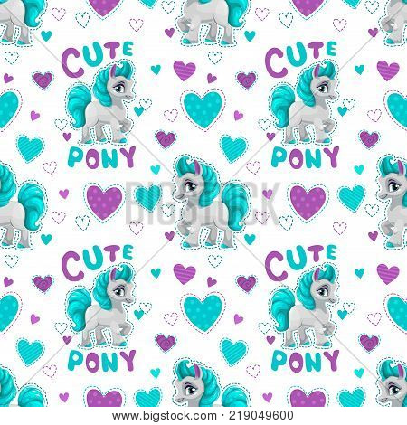 Seamless pattern with cute cartoon horse princess on white background. Vector girlish texture.