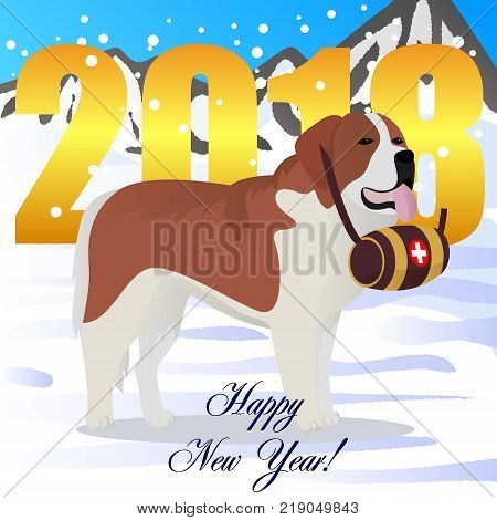 Happy new year card with St bernard dog lifesaver vector