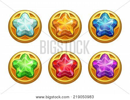 Golden round assets with colorful crystal stars inside. Cartoon fantasy coins with precious stones. Jewels set for game design.