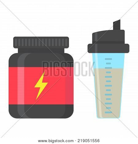 Whey protein with sports shaker flat icon, fitness and sport, nutrition sign vector graphics, a colorful solid pattern on a white background, eps 10.
