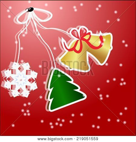 Christmas stickers Christmas tree with snowflake and bells on a red background