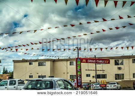 Los Angeles CA USA - October 28 2016: Garlands over a McDonald's drive thru