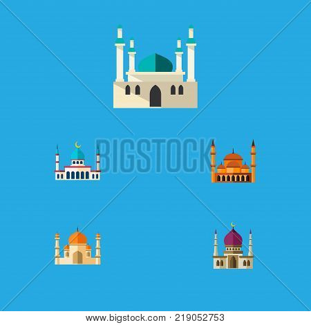 Icon flat building set of structure, architecture, minaret and other vector objects. Also includes mosque, mohammedanism, architecture elements.