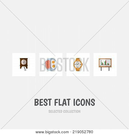 Icon flat life set of pendulum, breakfast, chart and other vector objects. Also includes clock, watch, egg elements.