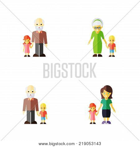 Icon flat people set of grandson, grandpa, grandma vector objects. Also includes son, grandpa, grandson elements.