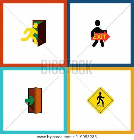 Icon flat door set of entry, evacuation, directional and other vector objects. Also includes door, exit, pointer elements.