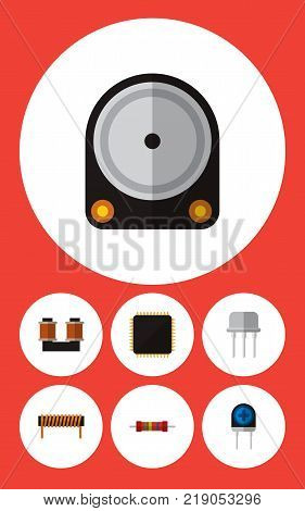 Icon flat appliance set of diode, spool, microprocessor and other vector objects. Also includes copper, coil, bobbin elements.