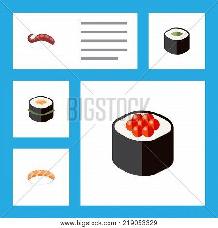 Icon flat maki set of sushi, salmon rolls, seafood and other vector objects. Also includes eating, food, seafood elements.