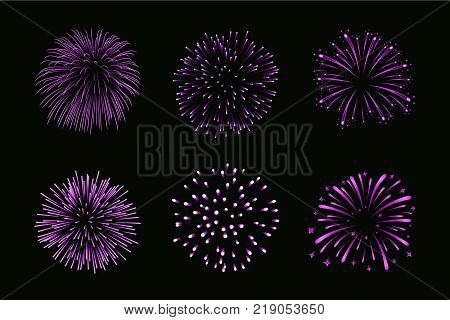 Beautiful purple fireworks set. Bright fireworks isolated black background. Light pink decoration fireworks for Christmas New Year celebration holiday festival birthday card Vector illustration