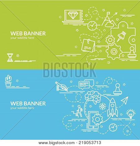 Flat colorful design concept of Start up. Infographic idea of making creative products. Template for website banner flyer and poster.