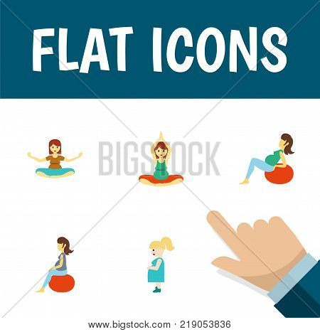 Icon flat pregnant set of mother, yoga, meditation and other vector objects. Also includes pregnant, woman, fitness elements.