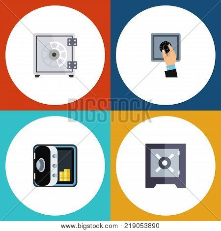 Icon flat closed set of security, protection, closed and other vector objects. Also includes security, closed, unlock elements.
