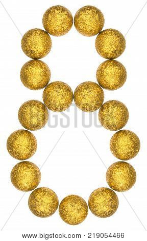 Numeral 8 eight from decorative balls isolated on white background