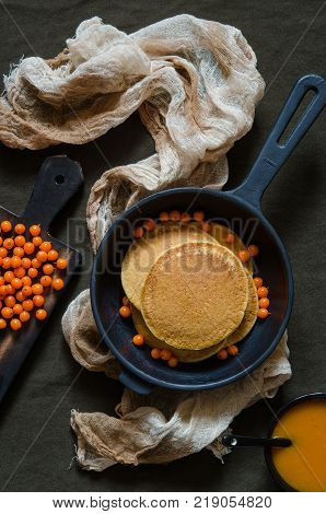 Pumpkin Pancakes With Sea-buckthorn Sauce And Berries
