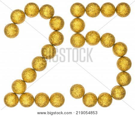 Numeral 25 twenty five from decorative balls isolated on white background