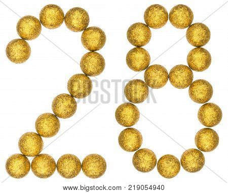 Numeral 28 twenty eight from decorative balls isolated on white background