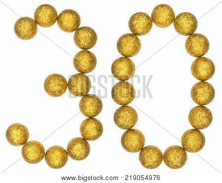 Numeral 30 thirty from decorative balls isolated on white background