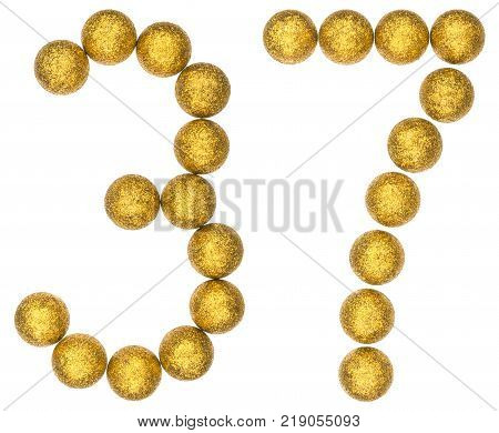 Numeral 37 thirty seven from decorative balls isolated on white background