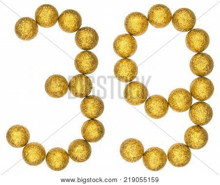 Numeral 39 thirty nine from decorative balls isolated on white background