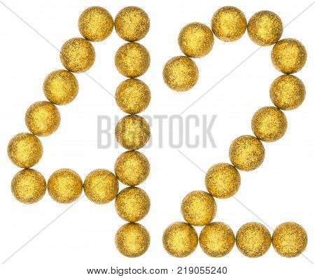 Numeral 42 forty two from decorative balls isolated on white background