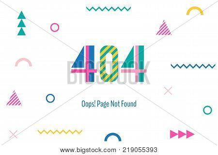 Page with a 404 error in the popular memphis style. Template reports that the page is not found. Digit and geometric elements isolated on white background