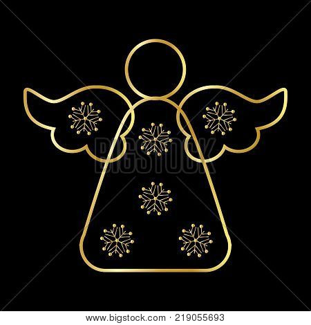 Angel Icon Symbol Design. Vector illustration of Gold Angel silhouette isolated on black background. Flat design. Can be use for decoration gifts greetings holidays etc.