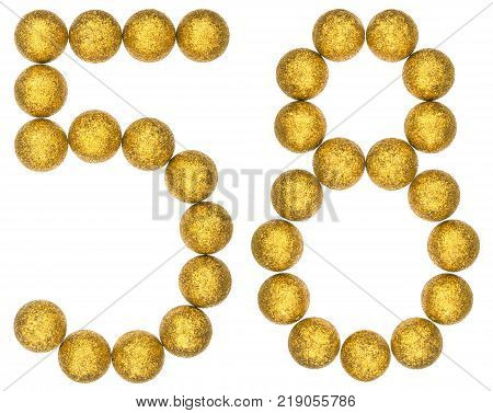 Numeral 58 fifty eight from decorative balls isolated on white background