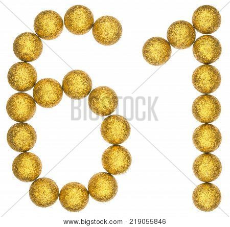Numeral 61 sixty one from decorative balls isolated on white background