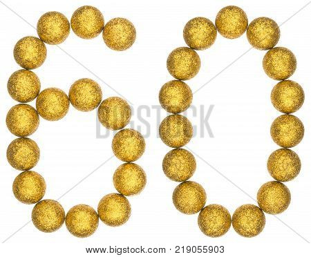 Numeral 60 sixty from decorative balls isolated on white background