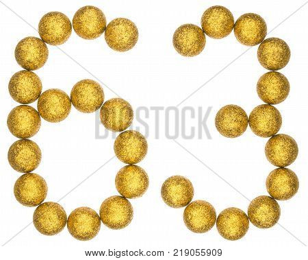 Numeral 63 sixty three from decorative balls isolated on white background