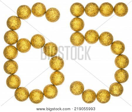 Numeral 65 sixty five from decorative balls isolated on white background