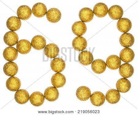 Numeral 69 sixty nine from decorative balls isolated on white background