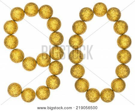 Numeral 90 ninety from decorative balls isolated on white background