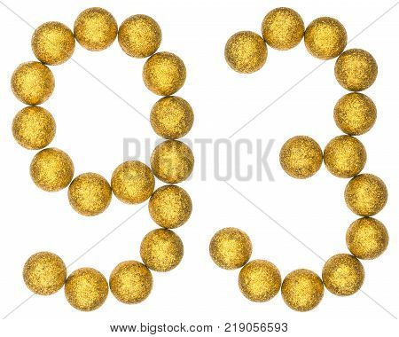 Numeral 93 ninety three from decorative balls isolated on white background