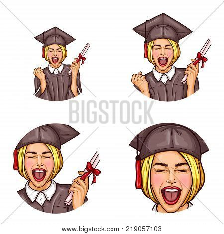 Vector set of round female avatars for users of social network, blogs in pop art style. Excited blonde girl in black mantle and hat, becoming a graduated student, holds university diploma in her hand