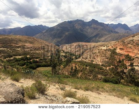 View In Pampa In Peru Mountains With Cloudy Sky