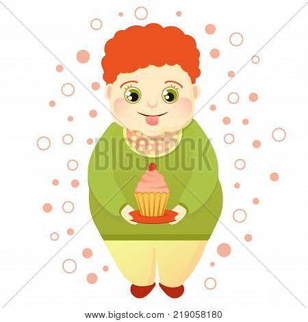 A fat red-haired boy holds a cake and licks himself. Cool sweetheart or lover of sweets. Cute Glutton. Vector