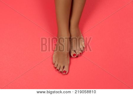 Beautiful Female Feet And Hands At Spa Salon On Pedicure And Manicure Procedure