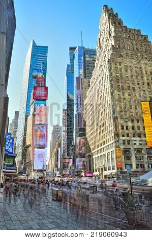New York City USA - October 20 2017: Times Square at sunny day taken with long exposure.