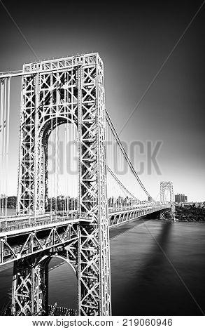 George Washington Bridge New York City - black and white HDR image.