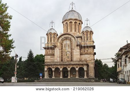 Hunedoara, Romania - September 27, 2017: Saints Constantine and Helena Cathedral is orthodox church with many ornaments on the facade built in Byzantine style, Hunedoara, Romania