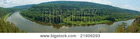 vista panorâmica da paisagem de taiga siberiana no verão