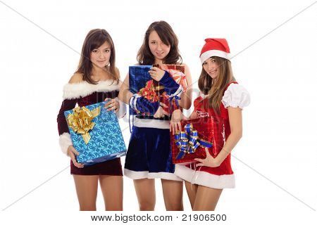 pretty young teenager in christmas clothing with presents, isolated on white