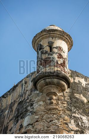 Garita, or watchtower, at El Morro fortress in San Juan, Puerto Rico.