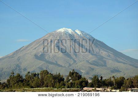 View of Volcano Misti i Arequipa, Peru