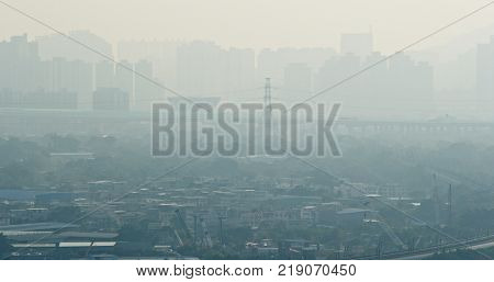 Air pollution problem of the city in Hong Kong